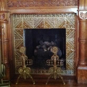 Diagonal Tile Fireplace